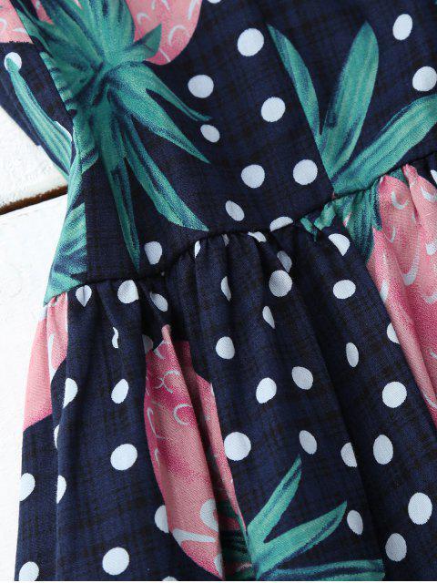affordable Polka Dot Pineapple Sleeveless Dress - COLORMIX XL Mobile
