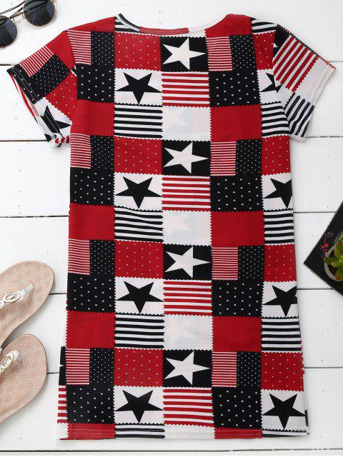 Patchwork Print Patriotic American Flag T-Shirt Dress - Multicolore 2XL Mobile