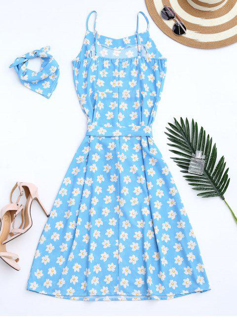 ladies Belted Tiny Floral Cami Dress with Scarf - AZURE XL Mobile