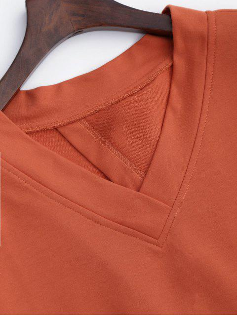 shops V Neck Cotton Bowknot Top - ORANGEPINK ONE SIZE Mobile