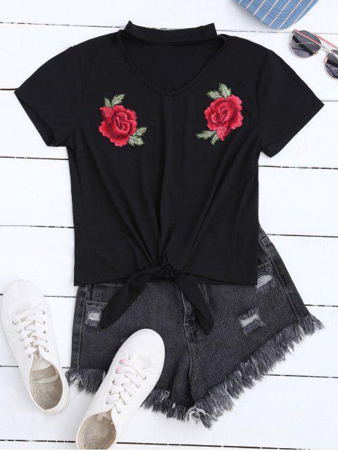 Floral Applique Choker T-Shirt - Noir XL Mobile