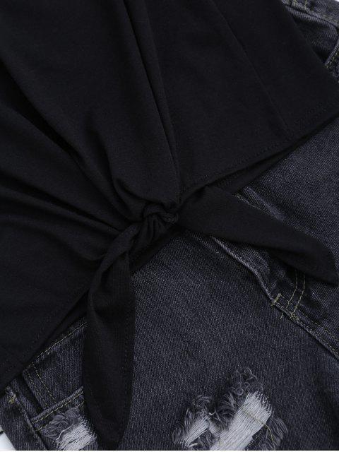 chic Floral Applique Choker T-Shirt - BLACK XL Mobile