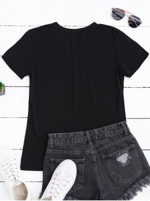 fancy Contrast Letter V Neck Graphic Tee - BLACK S Mobile