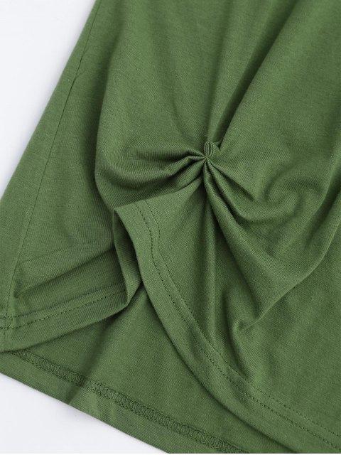 Haut drapé en coton avec broderie florale - Vert S Mobile
