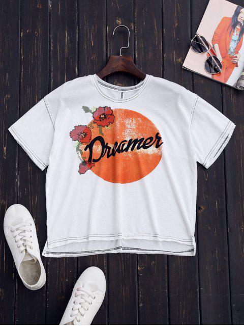 T-shirt imprimé brodé en coton - Blanc L Mobile