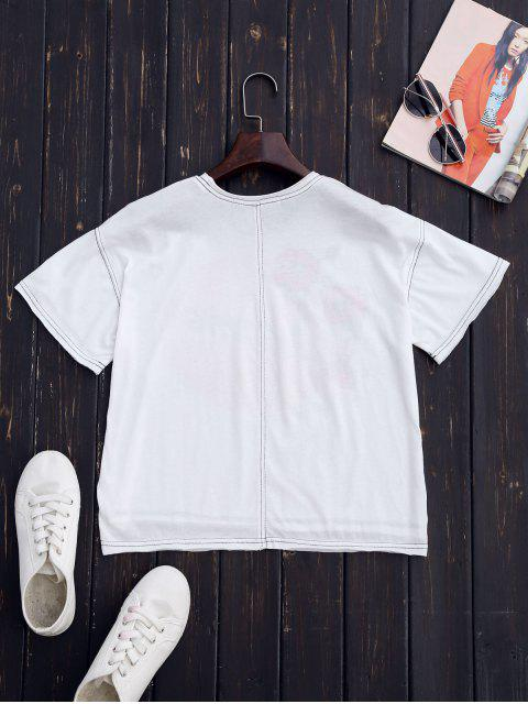 online Embroidered Printed Cotton T-Shirt - WHITE L Mobile