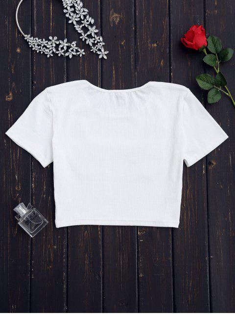 outfits Knitting Floral Patched Ribbed Top - WHITE S Mobile