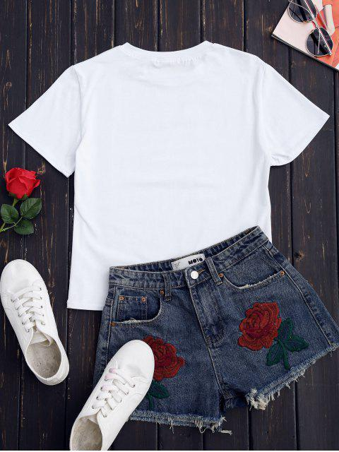 shops Preppy Graphic T-Shirt - WHITE S Mobile