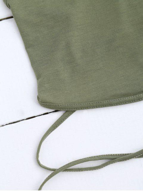 latest Cross Back Lace Up Crop Top - ARMY GREEN M Mobile