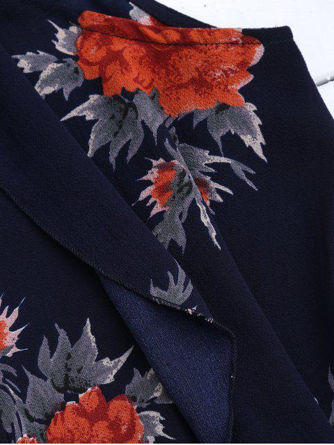 women's Floral Print Flowy Choker Halter Top - PURPLISH BLUE XL Mobile