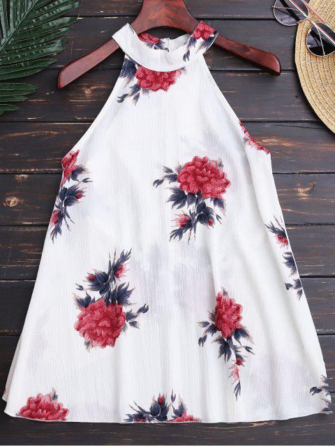 best Floral Print Flowy Choker Halter Top - WHITE M Mobile