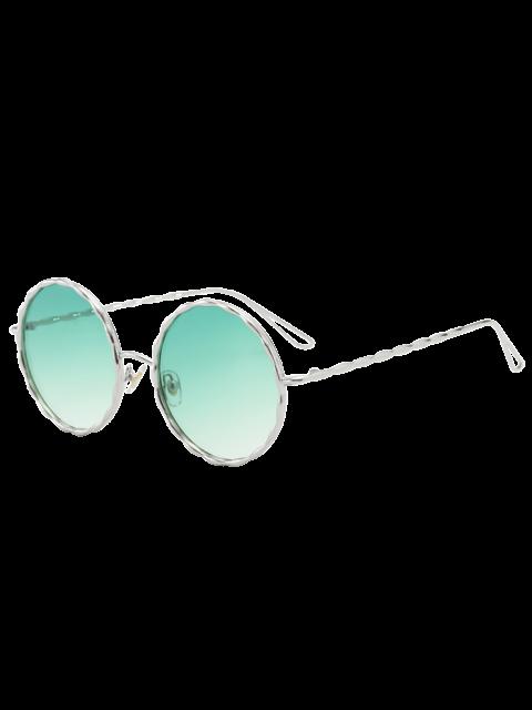 Lunettes de soleil verre rond avec monture ondulé en métal - Vert  Mobile