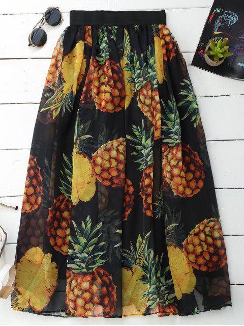 Jupe longueur moyenne imprimée ananas - Noir TAILLE MOYENNE Mobile