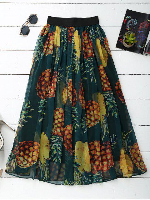 shop Pineapple Print Midi Skirt - GREEN ONE SIZE Mobile