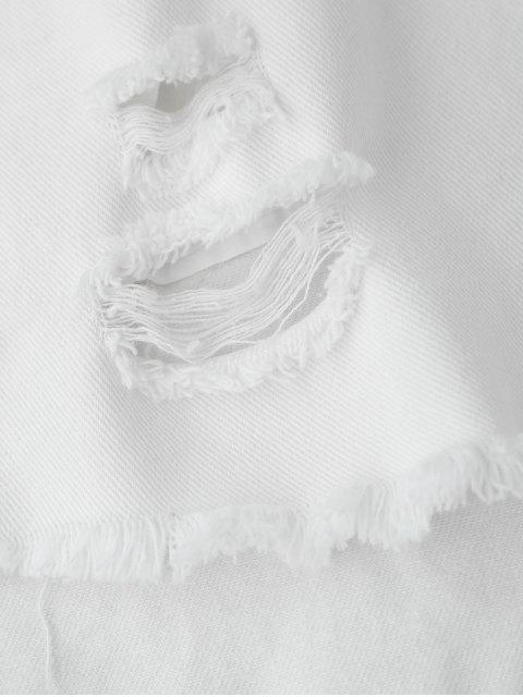 short en jean déchirés avec des côtés rayés - Blanc L Mobile