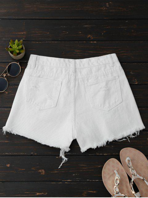 fashion Ripped Denim Shorts With Side Stripes - WHITE XL Mobile