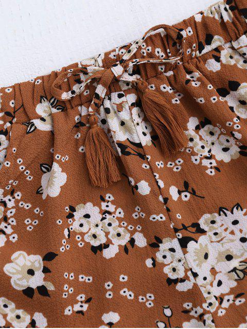 ladies Drawstring Floral Ruffled Shorts - FLORAL M Mobile