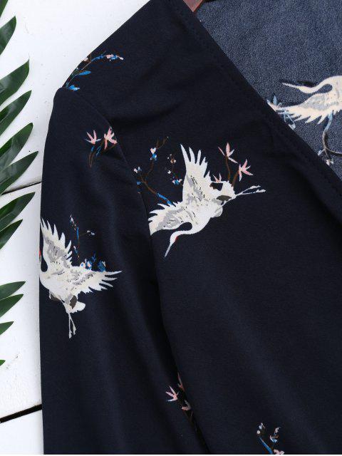lady Surplice Floral Flare Sleeve Romper - PURPLISH BLUE S Mobile