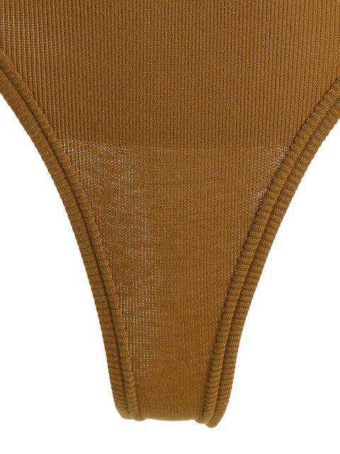Body côtelé tricoté avec moitié boutonnée - Kaki Foncé TAILLE MOYENNE Mobile