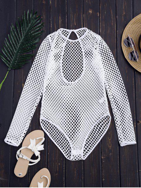 trendy Laser Cut High Leg Bodysuit - WHITE M Mobile