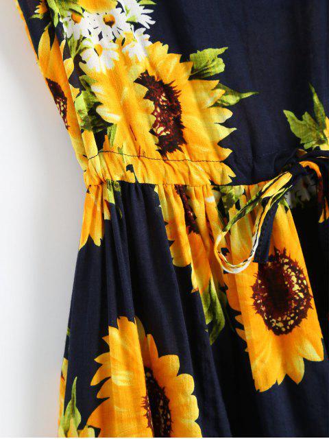 fancy Sleeveless Drawstring Waist Sunflower Dress - FLORAL XL Mobile