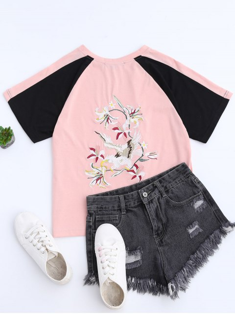 fancy Color Block Back Embroidered Baseball T-Shirt - PINK M Mobile