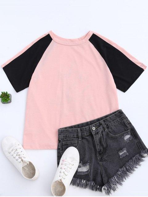 fancy Color Block Back Embroidered Baseball T-Shirt - PINK M Mobile