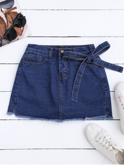 sale Self Tie Frayed Hem Denim Skirt - DEEP BLUE ONE SIZE Mobile