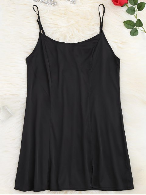 affordable Satin Side Slit Cami Dress - BLACK M Mobile