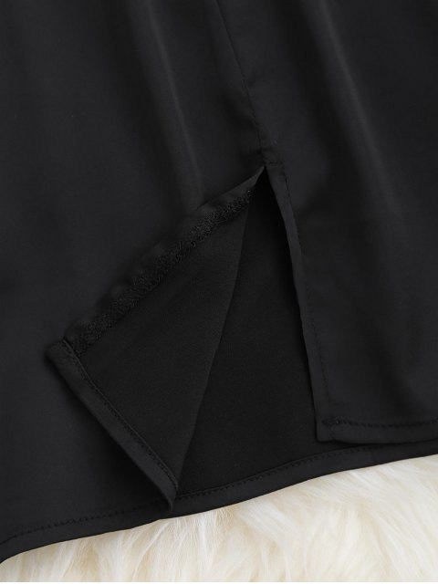 buy Satin Side Slit Cami Dress - BLACK S Mobile
