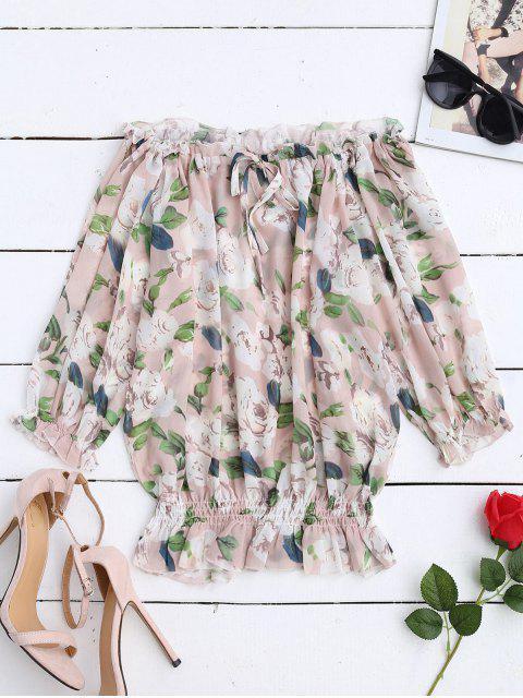 women Floral Off Shoulder Chiffon Blouse - FLORAL M Mobile