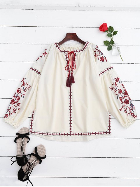shop Embroidered Tie Neck Side Slit Blouse - OFF-WHITE S Mobile