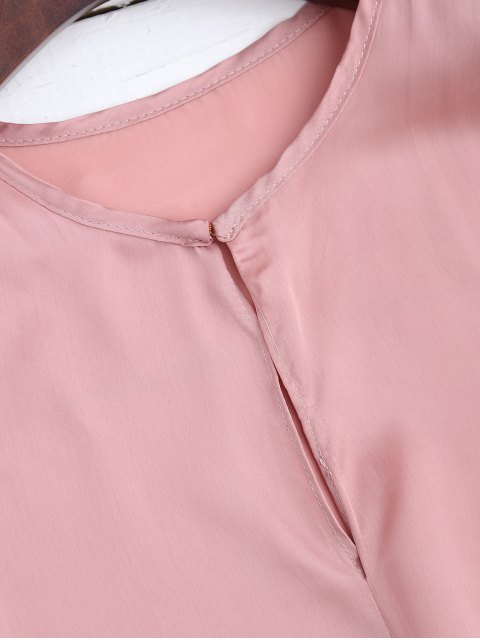 trendy Satin Front Tie Blouse - PINK S Mobile
