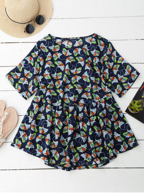 sale Floral Smock Top - CADETBLUE 2XL Mobile
