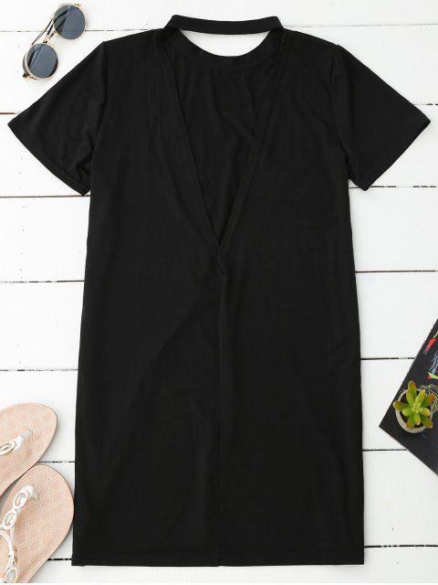trendy Backless T-Shirt Dress - BLACK M Mobile