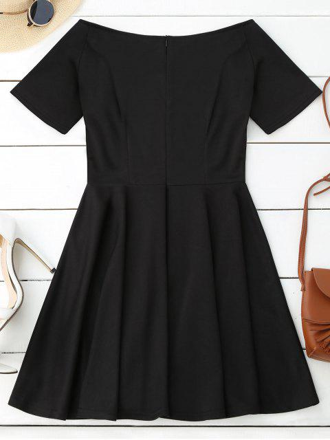 chic V Neck Skater Dress - BLACK XL Mobile