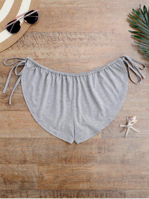 sale Side Tie Beach Cover Up Shorts - GRAY ONE SIZE Mobile
