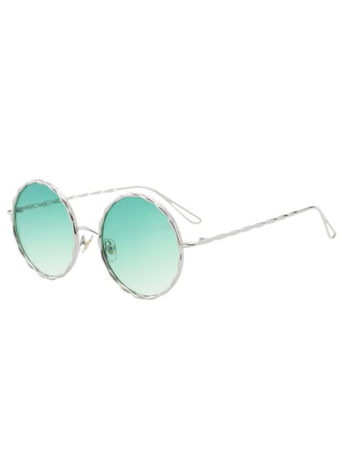 sale Wavy Metallic Frame Leg Ombre Round Sunglasses - GREEN  Mobile