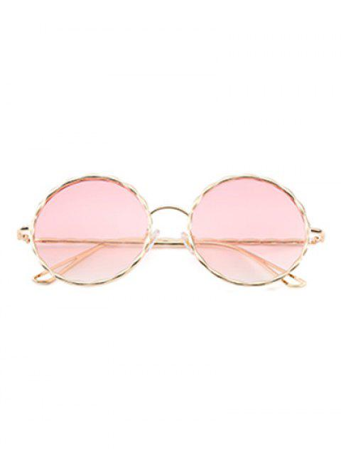 affordable Wavy Metallic Frame Leg Ombre Round Sunglasses - PINK  Mobile