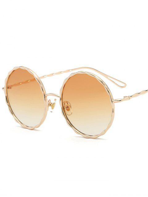 womens Wavy Metallic Frame Leg Ombre Round Sunglasses - LIGHT YELLOW  Mobile
