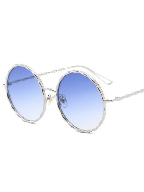 Lunettes de soleil verre rond avec monture ondulé en métal - Bleu clair  Mobile