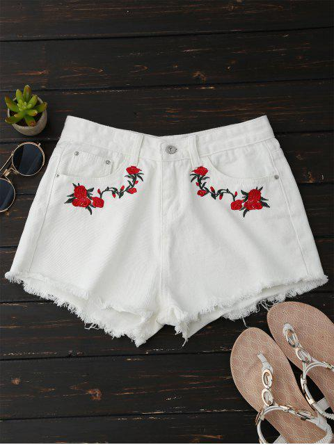 buy Frayed Floral Embroidered Cutoffs - WHITE M Mobile