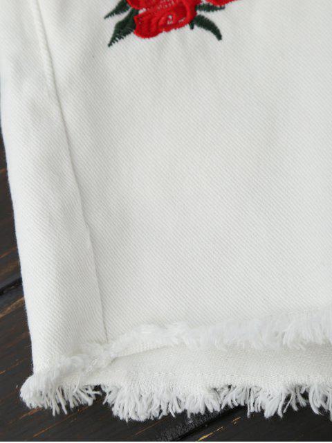 Shorts en denim floral à broderie ourlet brut - Blanc L Mobile