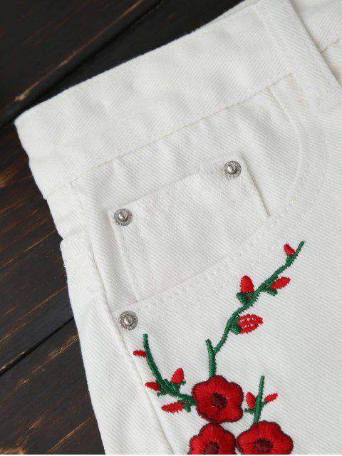 shorts déchirés en jean brodés en motif floral - Blanc M Mobile
