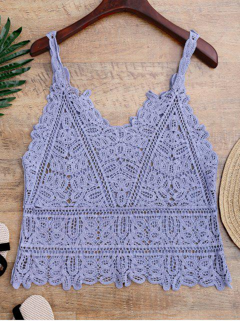 shop Hollow Out Crochet Cami Cover Up - LIGHT BLUE ONE SIZE Mobile