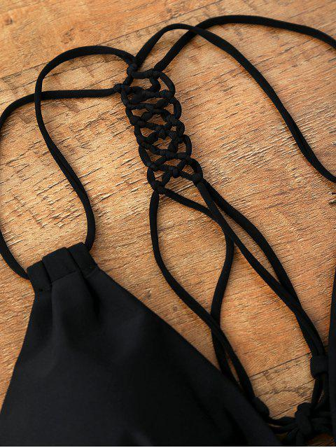 lady Lace Up Cut Out One Piece Swimwear - BLACK S Mobile