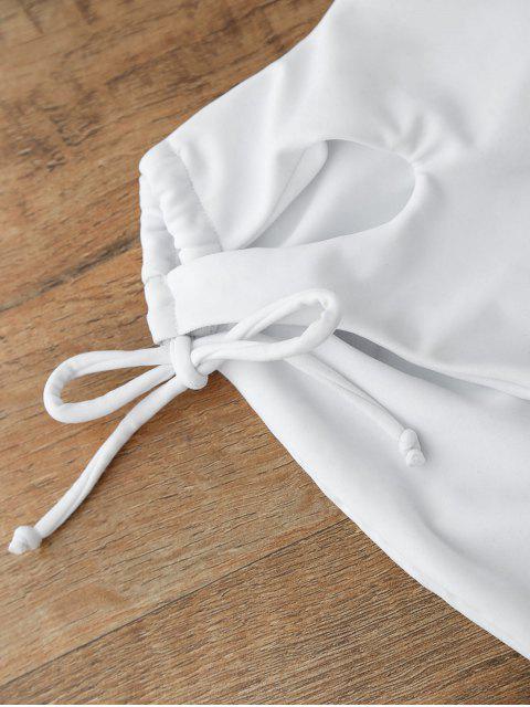 Maillots de Bain Une Pièce à Lacets Décolleté Plongeant - Blanc XL Mobile