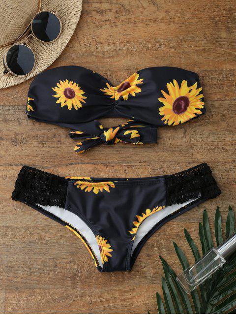 Sonnenblumendruck Push Up Bandeau Bikini Badeanzug - Schwarz XL  Mobile
