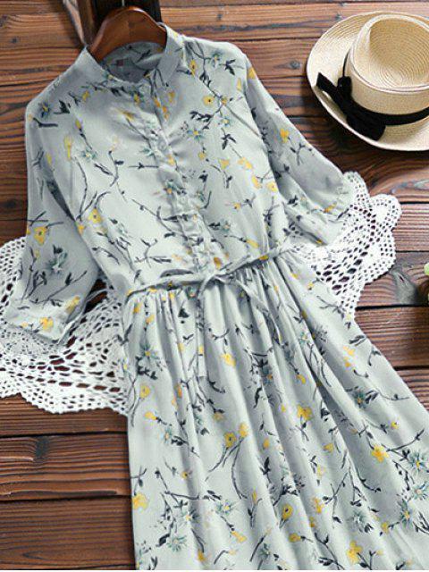 unique Chiffon Floral Buttoned Ruffle Dress With Belt - LIGHT BLUE L Mobile