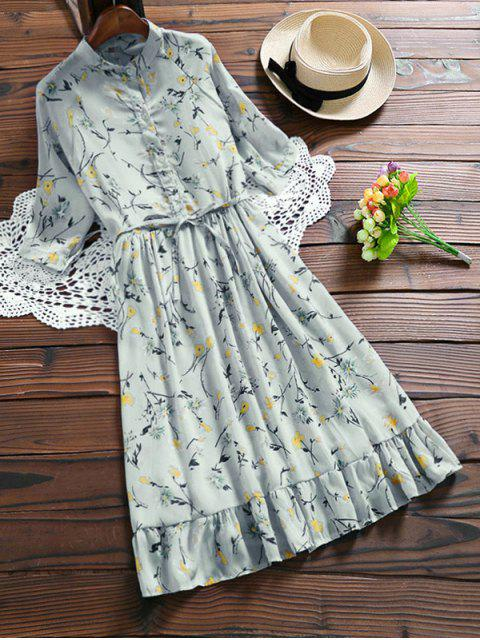 affordable Chiffon Floral Buttoned Ruffle Dress With Belt - LIGHT BLUE S Mobile